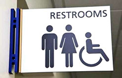 Male and Female emergency Restrooms Sign
